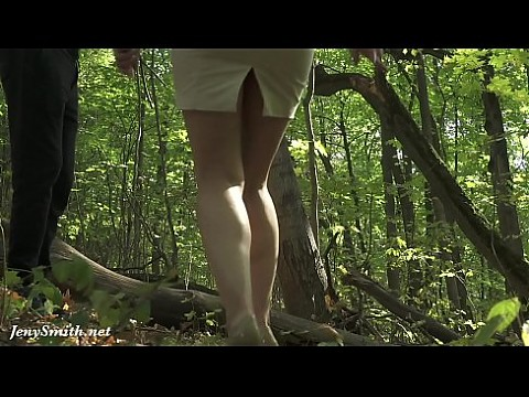 Jeny Smith tied up naked in the forest