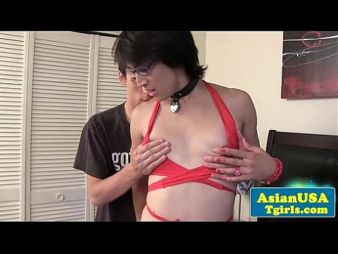 Facialized smalltitted tranny fucked by male